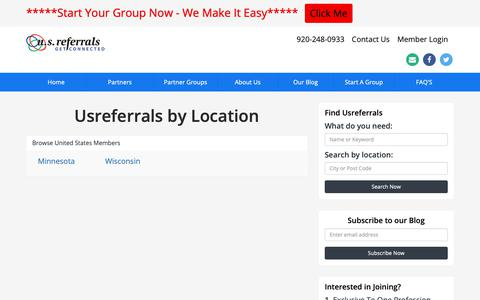 Screenshot of Locations Page usreferrals.net - Find Usreferrals by Location - us referrals - captured Dec. 20, 2018