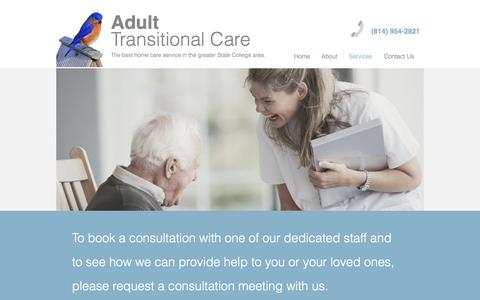 Screenshot of Services Page adulttransitionalcare.com - Adult Transitional Care   Senior Home Care, Handyman Service & Moving - captured Oct. 7, 2017