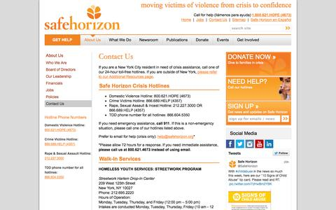Screenshot of Contact Page safehorizon.org - Contact Us - captured Sept. 23, 2014