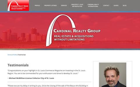 Screenshot of Testimonials Page cardinalrealtygroup.com - Testimonials - Cardinal Realty Group - captured Sept. 27, 2018