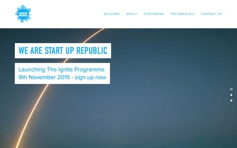 Screenshot of Home Page startuprep.org - Start Up Republic - captured Oct. 10, 2015