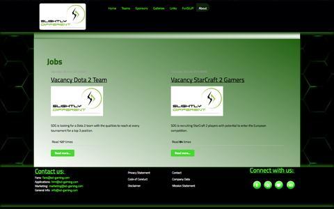Screenshot of Jobs Page sd-gaming.com - Jobs - SD Gaming - captured Oct. 27, 2014