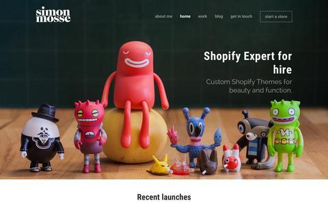 Screenshot of Home Page simonmosse.com - Simon Mosse – Expert Shopify Designer - captured Sept. 13, 2015