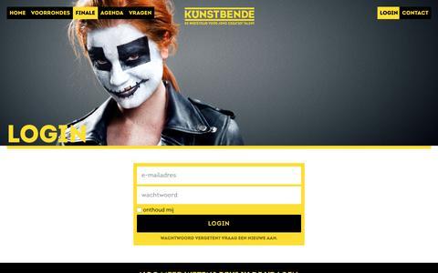Screenshot of Login Page kunstbende.nl - Kunstbende - De wedstrijd voor jong creatief talent - captured Aug. 9, 2016