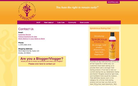Screenshot of Contact Page jessicurl.com - Contact Us | Jessicurl | Curly Hair Products - captured Sept. 30, 2014