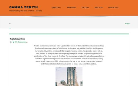 Screenshot of Home Page gammazenith.co.za - Gamma Zenith – The wall coating that lasts…and lasts…and lasts - captured July 16, 2017
