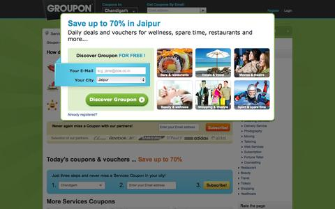 Screenshot of Services Page groupon.co.in - Services Coupons. Save up to 70% on Services Coupons with GOUPON.co.in - captured Oct. 20, 2015