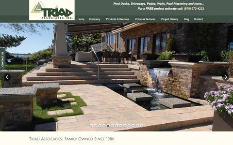 Screenshot of Home Page triadassociatesinc.com - Triad Associates - Haverhill, MA - Pavers, Exposed Aggregate, Stamped Concrete, Retaining Walls - captured Feb. 25, 2016