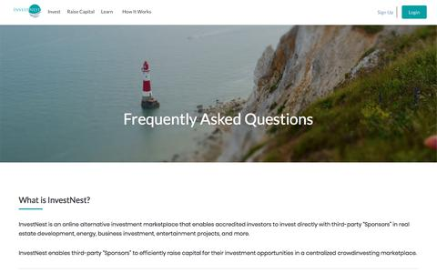 Screenshot of FAQ Page investnest.com - Frequently Asked Questions – InvestNest - captured Sept. 20, 2018