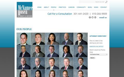 Screenshot of Team Page mhlawyers.com - McNamee, Hosea, Jernigan, Kim, Greenan & Lynch, P.A. | Annapolis Maryland MD - captured Oct. 27, 2014
