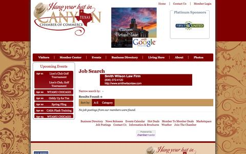 Screenshot of Jobs Page canyonchamber.org - Job Search - Canyon Chamber of Commerce - TX,TX - captured April 15, 2017