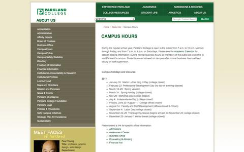 Screenshot of Hours Page parkland.edu - Parkland College - About Us - Campus Hours - captured July 14, 2017