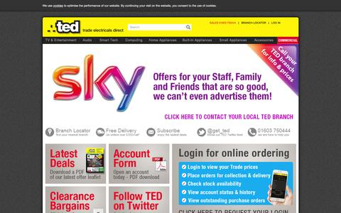 Screenshot of Home Page get-ted.co.uk - Trade Electricals Direct - captured Feb. 7, 2016