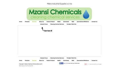 Screenshot of Services Page mzansichem.org - Mzansi Cleaning Chemical Services- Equipment Chemicals Products Cleaning - captured Oct. 26, 2014