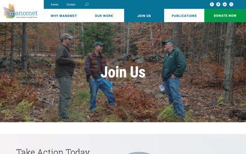 Screenshot of Signup Page manomet.org - Join Us - Manomet - captured Sept. 25, 2018