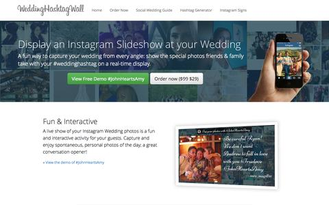 Screenshot of Home Page weddinghashtagwall.com - Wedding Hashtag Wall - Instagram Show for your Wedding - captured Jan. 30, 2015
