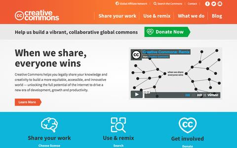 Screenshot of Home Page creativecommons.org - When we share, everyone wins - Creative Commons - captured June 24, 2016