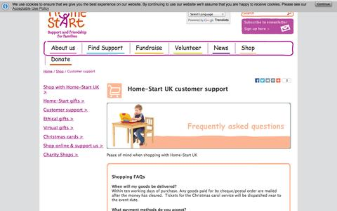 Screenshot of Support Page home-start.org.uk - Customer support from Home-Start UK | Family support charity - captured Oct. 2, 2014
