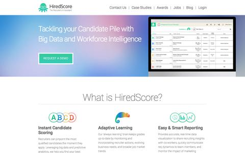 Screenshot of Home Page hiredscore.com - HiredScore - The Recruiter's Assistant - captured July 20, 2018