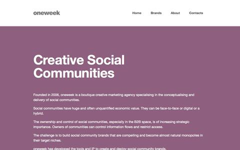 Screenshot of Home Page oneweekmedia.co.uk - oneweek - Creative Social Communities - captured Oct. 9, 2014