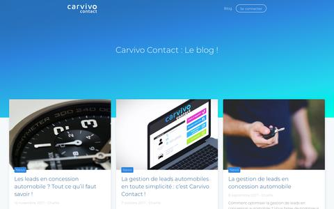 Screenshot of Blog carvivocontact.com - Carvivo Contact, le blog : les news de la gestion de leads automobiles - captured Nov. 4, 2018