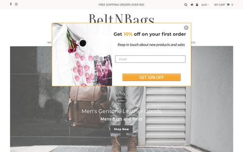 Screenshot of Home Page beltnbags.com.au - Genuine Leather Belts and Bags for Men, Women and Kids – BeltNBags - captured Nov. 6, 2018