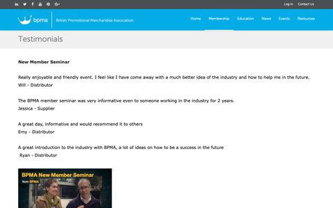 Screenshot of Testimonials Page bpma.co.uk - BPMA - captured Oct. 6, 2018