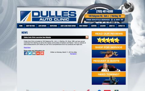 Screenshot of Press Page dullesautoclinic.com - Sterling, VA Tires Shop News :: Dulles Auto Clinic - captured Oct. 6, 2014