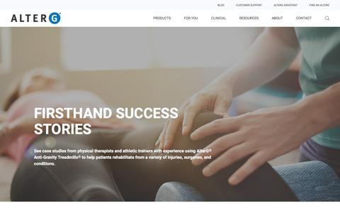 Screenshot of Case Studies Page alterg.com - Case Studies in Physical Therapy & Rehab | AlterG - captured July 12, 2018