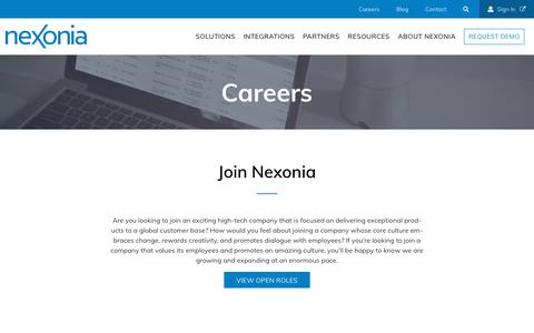Screenshot of About Page nexonia.com - Careers | Nexonia - captured Oct. 4, 2018