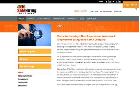 About Safe Hiring Solutions Online Background Checks Safe Hiring Solutions
