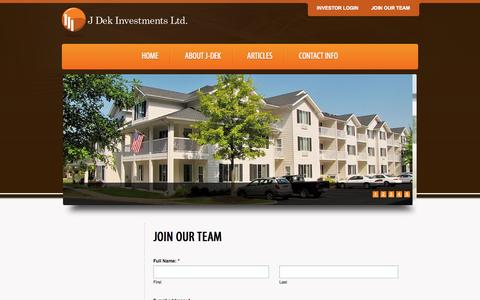Screenshot of Signup Page j-dek.com - Join Our Team | J Dek Investments Ltd. - captured Oct. 3, 2014