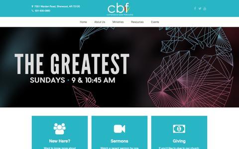 Screenshot of Home Page cbf.us - Cornerstone Bible Fellowship | Sherwood, ARCornerstone Bible Fellowship - captured Jan. 31, 2016