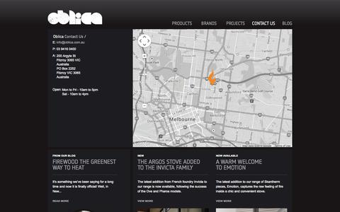 Screenshot of Contact Page oblica.com.au - Contact Us | Oblica Melbourne | Modern Fireplace Designs - captured Oct. 7, 2014