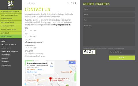 Screenshot of Contact Page designcenter.co.za - Contact Us - Greenside Design Center - captured Nov. 11, 2018