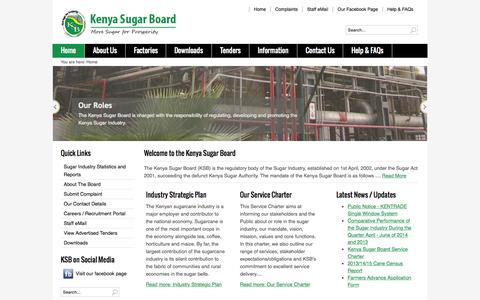 Screenshot of Home Page kenyasugar.co.ke - Kenya Sugar Board: More sugar for prosperity! - Kenya Sugar Board: More sugar for prosperity! - captured Oct. 10, 2015