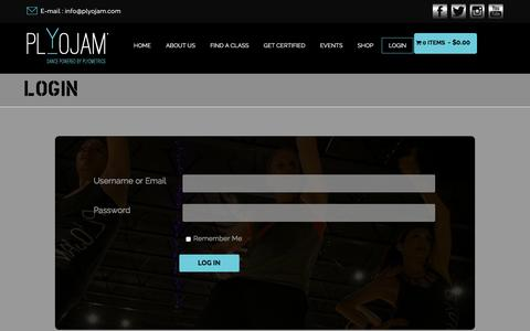Screenshot of Login Page plyojam.com - Login | PlyoJam - captured Dec. 10, 2015
