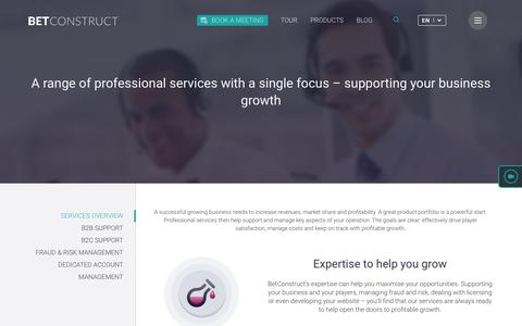 Screenshot of Services Page betconstruct.com - Online Gaming and Sports Betting Services | BetConstruct - captured Dec. 5, 2016