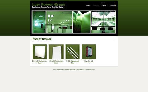 Screenshot of Products Page lowpowergreen.com - Product Catalog | Low Power Green - captured Oct. 3, 2014