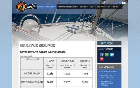 Screenshot of Pricing Page ltdsailing.com - Grenada Sailing School Pricing - LTD Sailing - captured July 23, 2018