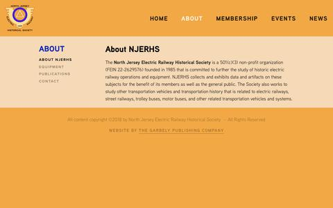 Screenshot of About Page njerhs.org - About NJERHS — North Jersey Electric Railway Historical Society - captured Oct. 29, 2018