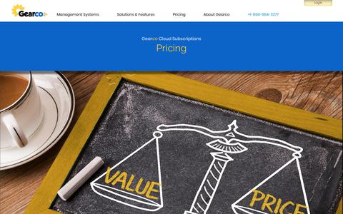 Screenshot of Pricing Page gearcoinc.com - Subscription Pricing — Get value over price — Cloud Property Management System (CPMS / PMS) - captured July 16, 2018