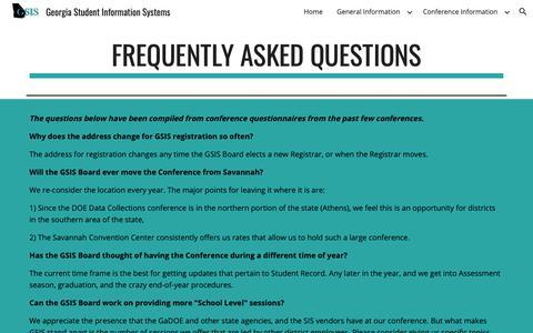 Screenshot of FAQ Page google.com - Georgia Student Information Systems - FAQ - captured Nov. 27, 2018