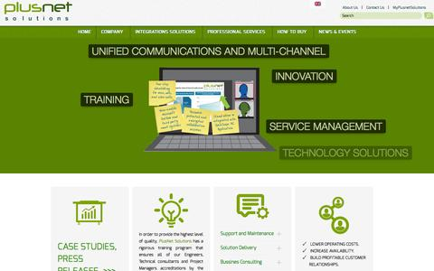 Screenshot of Home Page plusnetsolutions.com - PlusNet Solutions | Imagine. Integrate. Succeed. - captured Sept. 30, 2014