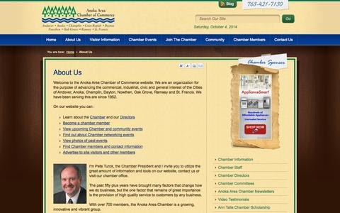 Screenshot of About Page anokaareachamber.com - About the Anoka Area Chamber of Commerce | A Minnesota Chamber of Commerce - captured Oct. 4, 2014