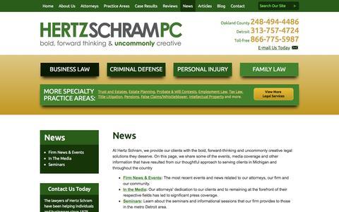 Screenshot of Press Page hertzschram.com - News | Hertz Schram PC | - captured Jan. 29, 2016