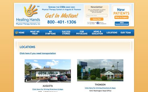 Screenshot of Locations Page hhands.net - Locations   Healing Hands - captured Oct. 2, 2014