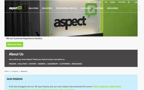 Screenshot of About Page aspect.com - About Us   Aspect - captured Nov. 9, 2018