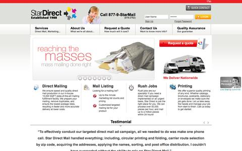 Screenshot of Home Page stardirectmail.com - Direct Mail Marketing Campaigns & Distribution | Star Direct Mail - captured Sept. 30, 2014