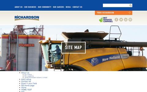 Screenshot of Site Map Page richardson.ca - Site Map | Richardson International - captured Nov. 30, 2016
